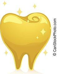 Gold Tooth Shiny Illustration