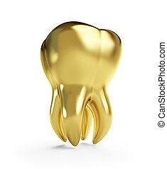 gold tooth on a white background