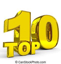 Gold top ten. Computer generated image.