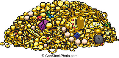Illustration pile of treasure gold, pearls, gems, coins, artefacts, vector graphic