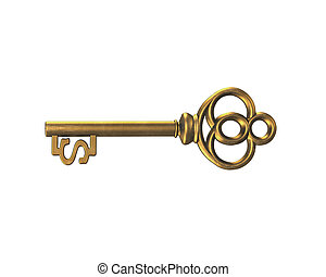 Gold treasure key in dollar sign shape, 3D rendering