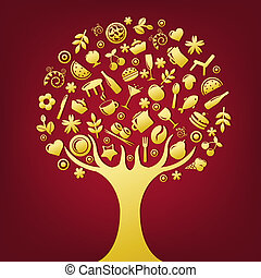 Gold Tree Made Of Products And Subjects Of Restaurant Icons,...