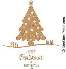 gold tree merry christmas type background