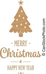 Gold Tree Merry Christmas type isolated Background