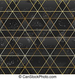 Gold triangle grid seamless pattern.
