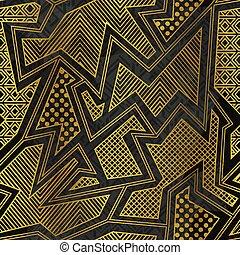 Gold tribal geometric seamless pattern.