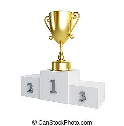 gold trophy csésze, talapzat
