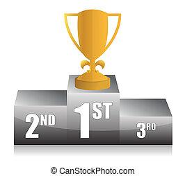 gold trophy cup 1st place illustrat