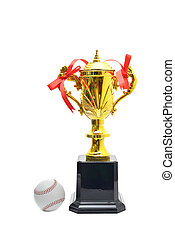 Gold Trophy Cup Baseball on a white background