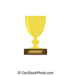 Gold trophy cup icon. Vector illustration.