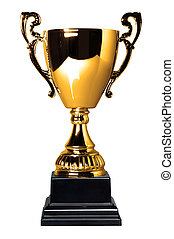 Gold trophy cup isolated