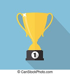 Gold Trophy Cup Winner Vector Illustration