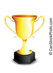 Gold Trophy - illustration of gold trophy kept on isolated...
