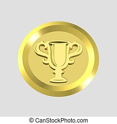 gold trophy icon - 3d gold trophy icon - computer generated