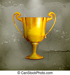 Gold trophy, old-style vector