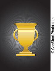 gold trophy on black background