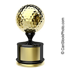 Gold trophy with golf ball