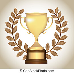 gold trophy with laurel wreath over brown background. vector