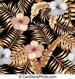 Gold tropical leaves and bronze silver hibiscus seamless black background