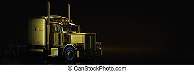 Gold truck in black background. 3d rendering
