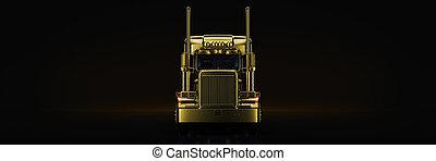 Gold truck in black background. 3d rendering