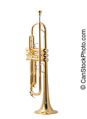 gold trumpet - gold lacquer trumpet with mouthpiece isolated...