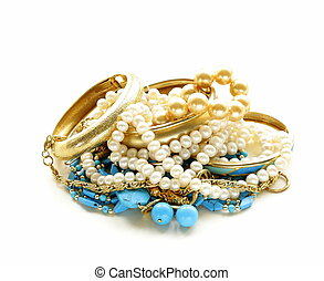 gold, turquoise jewelry and pearl