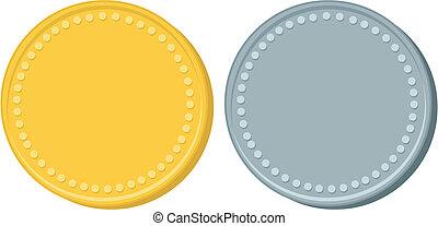 gold, und, silber, geldmünzen
