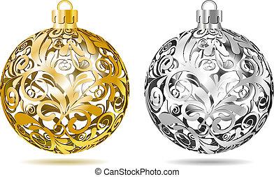 gold, und, silber, openwork, weihnachten, kugeln