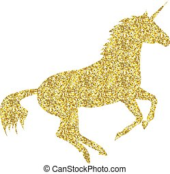 Gold Unicorn mythical horse in silhouette standing on hind ...