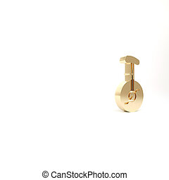 Gold Unicycle or one wheel bicycle icon isolated on white background. Monowheel bicycle. 3d illustration 3D render