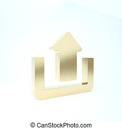 Gold Upload icon isolated on white background. Up arrow. 3d illustration 3D render