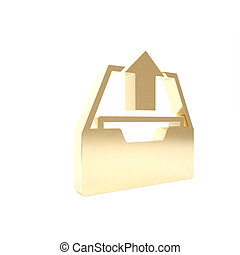 Gold Upload inbox icon isolated on white background. Extract files from archive. 3d illustration 3D render