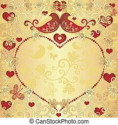 Gold valentine frame