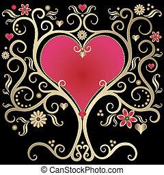 Gold valentines vintage frame with heart on black background (vector)