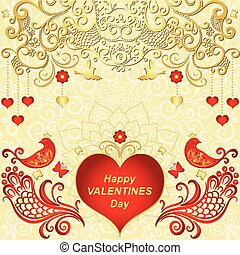 Gold Valentines frame with red hearts