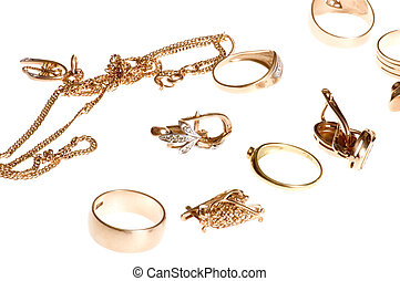 Gold valuable - object on white - Rings and ear-rings