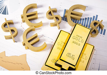 Gold value - Financial indicators,Chart,Gold bar,money...