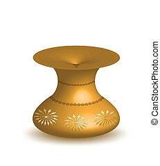 Gold vase isolated on white background. Vector
