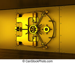 Gold vault - 3D render of a golden bank vault