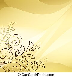 gold vector background with floral elements in the corner