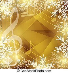 gold vector background with music notes and snowflakes for christmas holidays