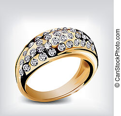 Gold vector diamond ring