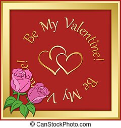gold vector frame on red background with hearts and roses - valentine day