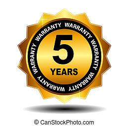 Gold vector guarantee sign, warranty label