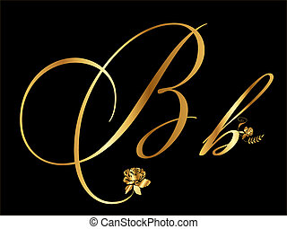 Gold vector letter B with roses