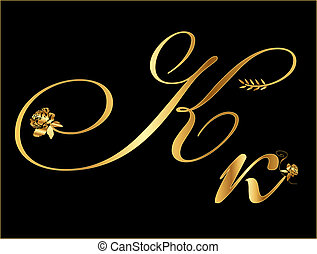 Gold vector letter K with roses
