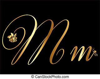 Gold vector letter M with roses
