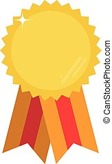 Gold vector medal with red and orange ribbon and space for your text or image