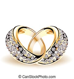 Gold wedding rings and diamonds Vector illustration